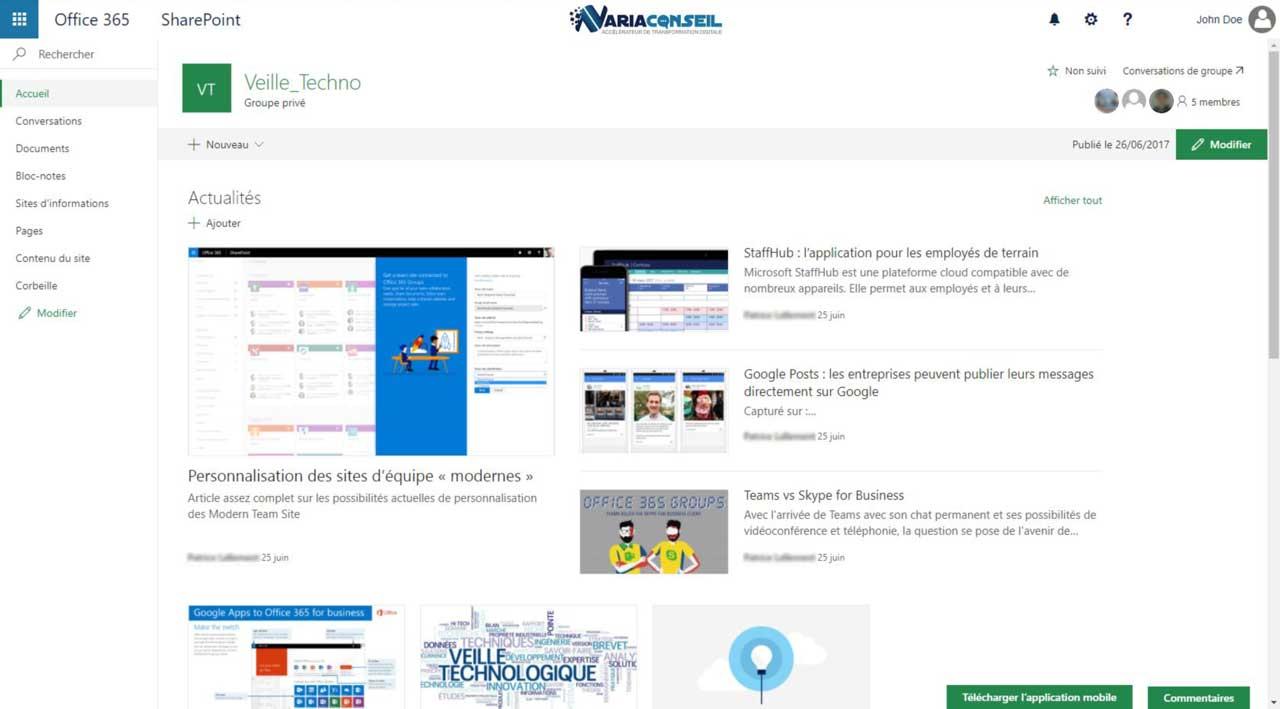 Site d'équipe moderne avec Sharepoint Online