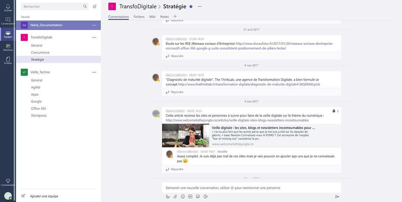 Office 365 Teams logiciel de conversation de groupes